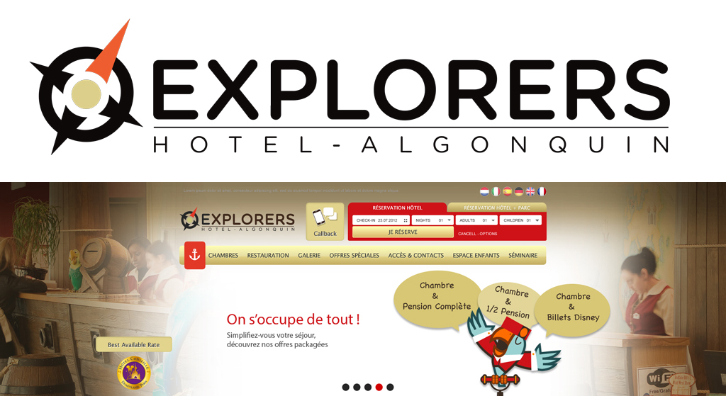 Reworking of Algonquin's Explorers Hotel design identity (Disneyland Paris)