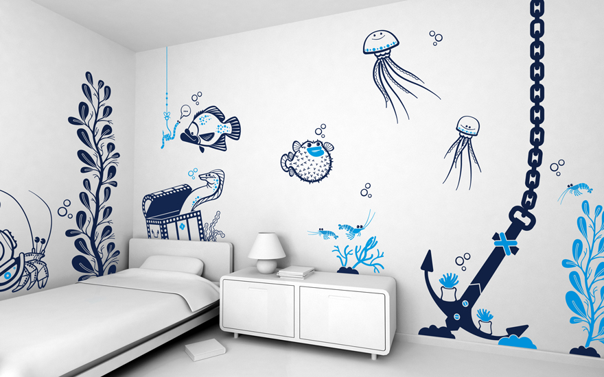 Underwater World theme pack of children's wall decals by E-Glue studio