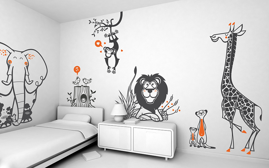 Savannah Safari Jungle theme pack of children's wall decals by E-Glue studio