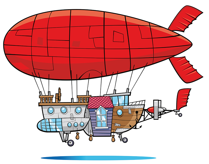 Reworking of the Walibi mascot, his friends and their airship by the E-Glue studio