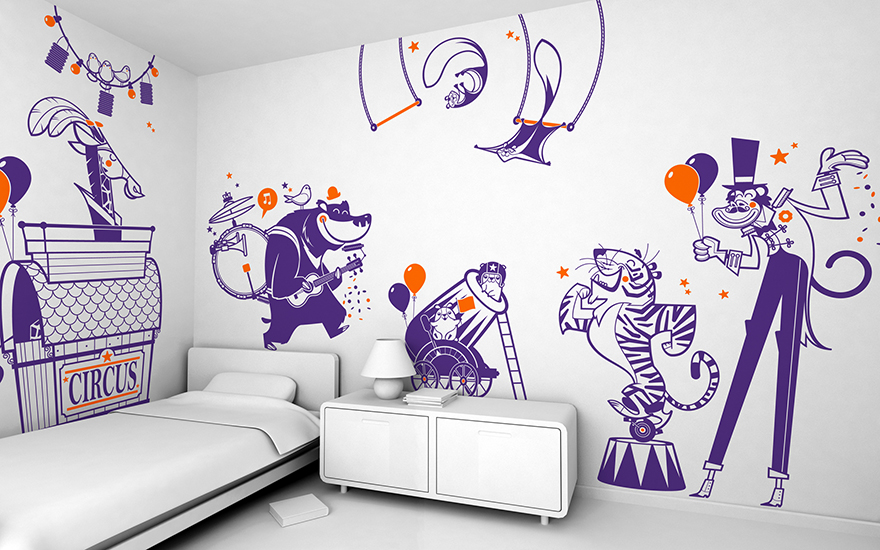 Circus theme pack of children's wall decals by E-Glue studio