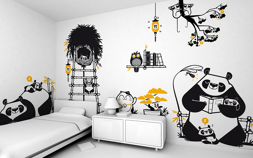 Asia Panda theme pack of children's wall decals by E-Glue studio
