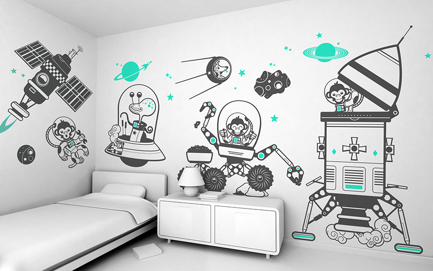 Outer space theme pack of children's wall decals by E-Glue studio