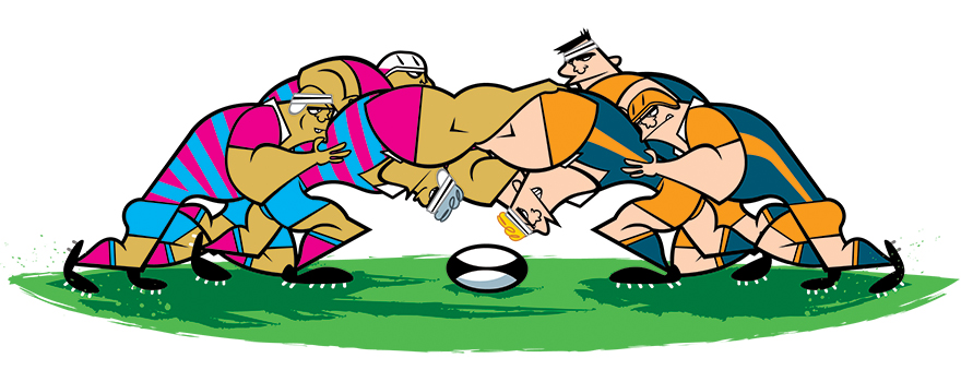 illustrations of rugby actions by E-Glue studio for Okapi magazine